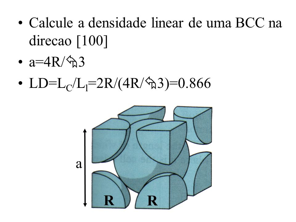Calcule a densidade linear de uma BCC na direcao [100]